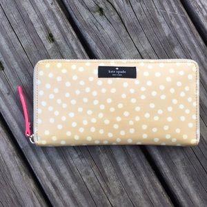 Kate Spade Tan and White Dot Wallet